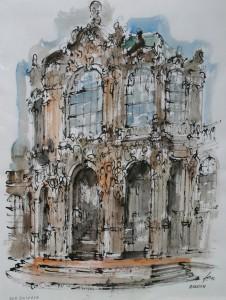 Berlin, Charlottenburger Schloss, Zeichnung, Rohrfeder, aquarelliert, 50 x 64, EUR 2500