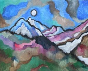 Im Gebirge, Ölgemälde, 80 x 100, EUR 5000