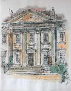 Berlin, Schloss Bellevue, Zeichnung, Rohrfeder, aquarelliert, 50 x 64, EUR 2500