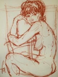 Weiblicher Akt, sitzend - Ferry Ahrlé