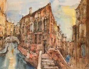 Mein Venedig, Rohrfeder, koloriert, 50 x 64, EUR 2500