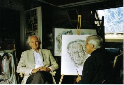 Ferry Ahrlé zeichnet Hilmar Hoffmann in seinem Atelier (2006)