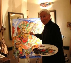 Das Farbenfeuerwerk entsteht – Ferry Ahrlé vor seinem Gemälde Foto: ROESSLER PR