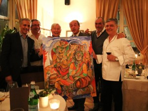 SoloPerGian: (v.l.n.r.) Mario Borazio (Ristorante Brighella), Dolmetscher, Ferry Ahrlé, Mario Cordero (Vietti), Enrico Berta (Berta) und Leo Caporale (Ristorante Brighella) Foto: ROESSLER PR