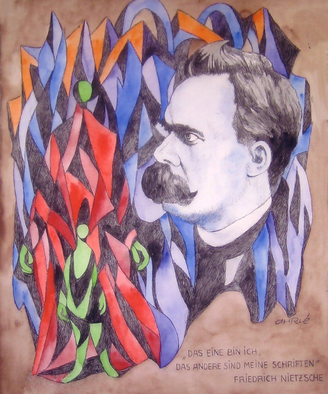 Friedrich Nietzsche, 50 x 60, Feder/Aquarell