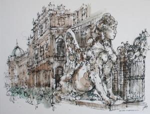 Wien, Oberes Belvedere, Rohrfeder, aquarelliert, 50 x 64, EUR 2500