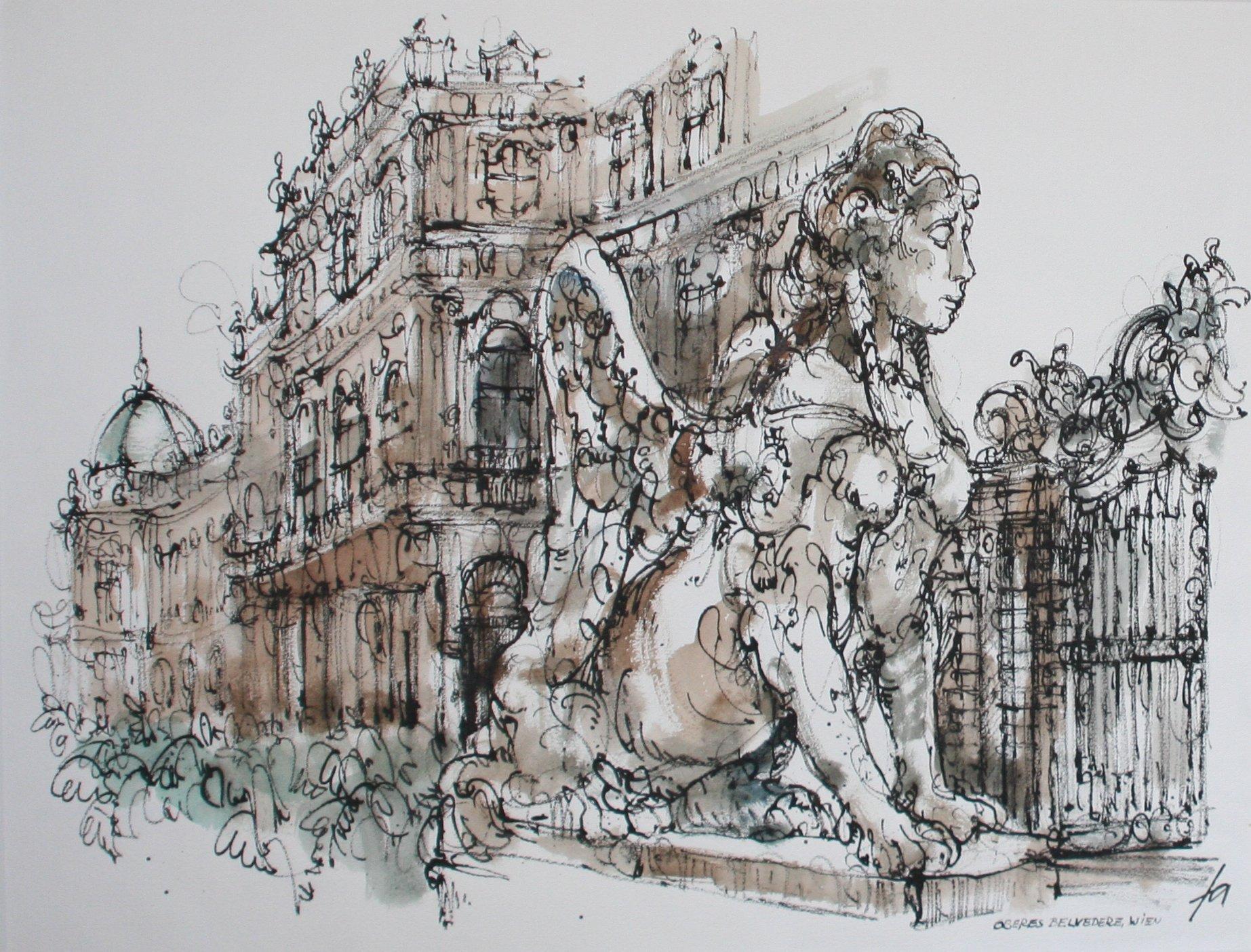 Wien, Oberes Belvedere, Rohrfeder, aquarelliert, 50 x 64, Foto: ROESSLER PR